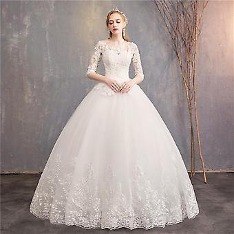 جديد السيدة وين الفاخرة الدانتيل التطريز الكرة ثوب الزفاف فستان