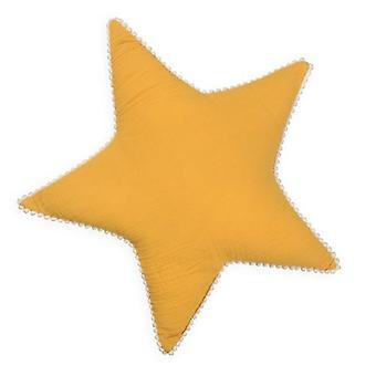 Mustard Star Tetra Cotton Decorative Pillow