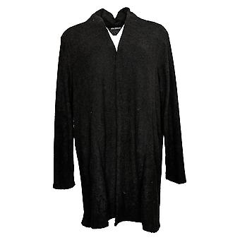 Nina Leonard Women's Sweater Cozy Knit Cardigan With Pockets Black 724999