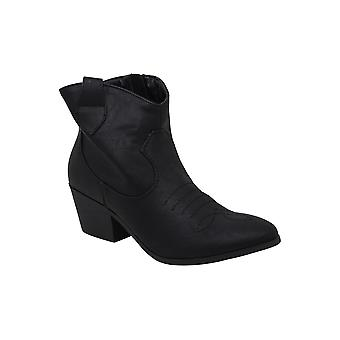 Rampage Women's Whendl Leather Round Toe Ankle Cowboy Boots KDE, Black, Size 6.5