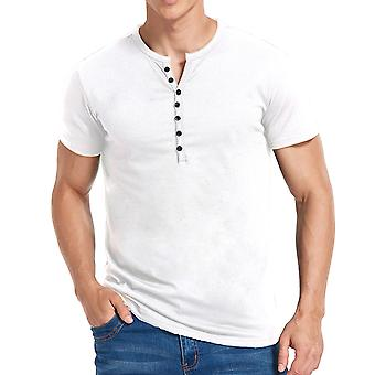 YANGFAN Mens Casual V-Neck Button Short Sleeve T-Shirt