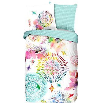 bed cover flanel 140 x 200 cm cotton white/mint