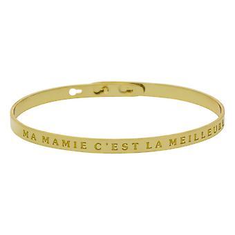 'MA MAMIE C'EST LA MEILLEURE' bracelet jonc doré à message