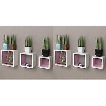 vidaXL Seinähyllyt hyllykuutiot 6 kpl. Valkoinen ja Pinkki