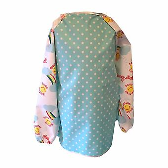 Pale blue dotty smiley face apron