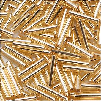 Toho Bugle Tube Perline Taglia #3 2x9mm Silver Lined Light Topaz 10 Grammi