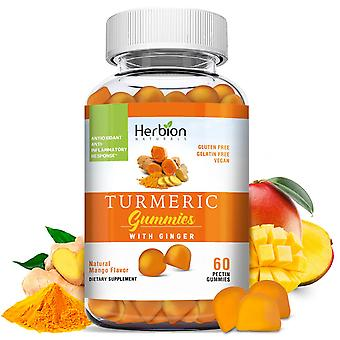 Herbion Naturals Turmeric Gummies with Ginger, Made in the USA, 60 Count