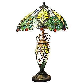 Green & Yellow Double Tiffany Lamp 68Cm