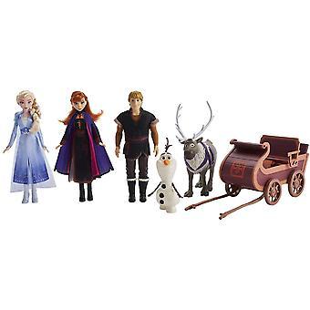 Frozen Eiskönigin II ELSA, Anna, Kristoff, Olaf und Sven Puppen Abenteuerliche Schlittenfahrt