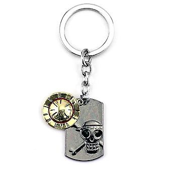 One Piece Luffy Straw Hat Boy Skull Keychain Key Ring