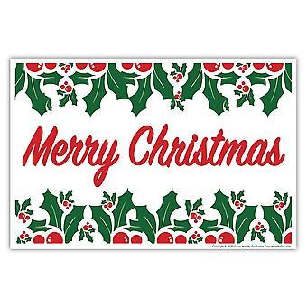 """Kyltti, Pihamerkki, Hyvää joulua W/holly Lehdet, 18"""" X 12"""""""