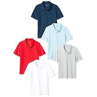 Essentials Boys' Uniform Short-Sleeve Pique Polo Shirts