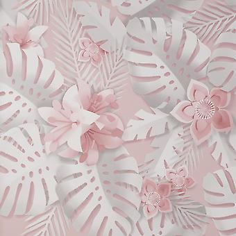 Afmetingen Bloemen Roze Behang