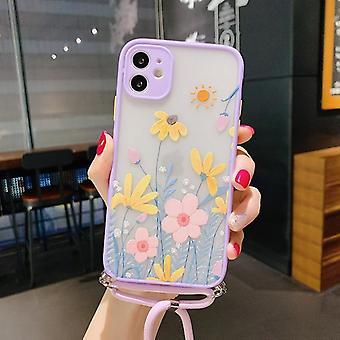 Lavanda floral lanyard teléfono caso de teléfono de cordón xsmax cubierta