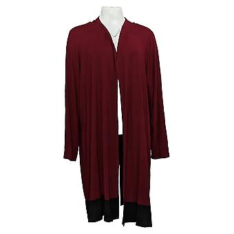 Dennis Basso Women's Sweater Plus Colorblocked Duster Wine Red A343902
