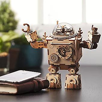 Steam Punk Music Box 3d Wooden Puzzle Craft Toy, Age 14+, Robot Diy Model Building Kits - Orpheus (with Led Light)