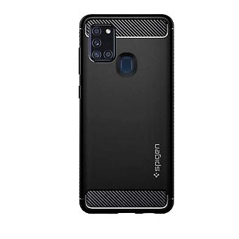 Cover for Galaxy A21s Silicone Shock Absorbing Carbon Rugged Armor Spigen black