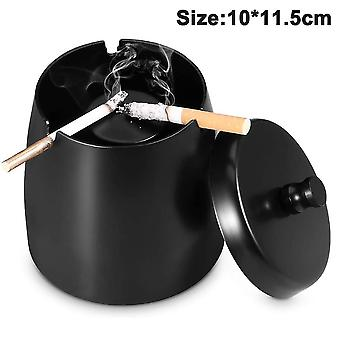 Bright Black (with Lid) Ashtray-small