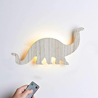 Lights4fun Wooden Dinosaur Diplodocus Battery Wall Night Light with Remote & Timer