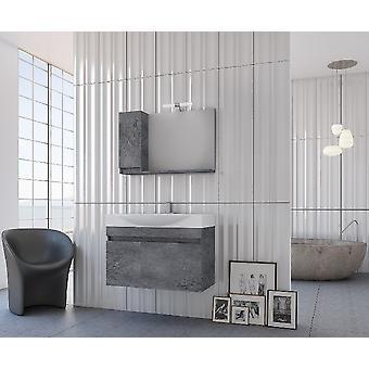 Set Mobili Senso , Colore Grigio, Bianco in Truciolare Melaminico, LPB, Ceramica, Alluminio, ABS, Unita' Base con Lavabo: L85xP50xA50 cm