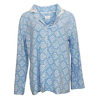 Aria Damen Neuheit Bedrucktes Fleece Pyjama Top Blue 631033