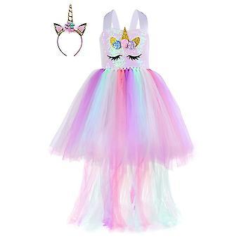 שמלת חד קרן נצנצים לנערות 1 עד 8y עם סרט ראש(L(5-6T))