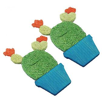 AE Cage Company Nibbles Potted Cactus Loofah Chew Toys - 2 count