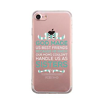 God Made Us Mint Transparent BFF Phone Case Cute Clear Phonecase