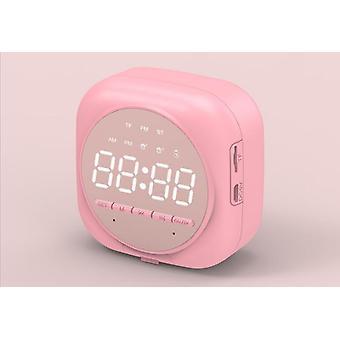 Smart Wireless Bluetooth Speaker Bedside Alarm Clock With MicSpeaker|Portable Speakers(Pink)
