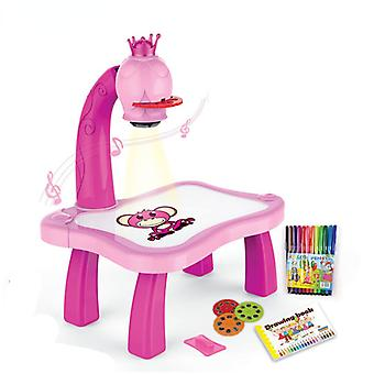 Lasten piirustuspöydät, Musikaalilelut, Lasten käsityöt, Muistikirjat, Työpöydät, Vauvan koulutuslelut-(vaaleanpunainen)