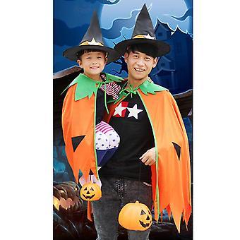 Mädchen Halloween Hexe Cosplay Kostüm Kinderkleid mit spitzem Hut Dress Up Kleidung