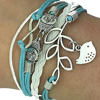 Blue Vintage Handmade Infinity 8 Owl Leaf Bird Leather Bracelet Wristband including gift box by Boolavard