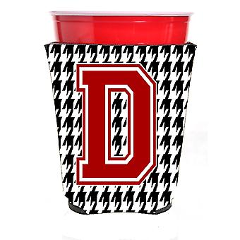 Monogram - Houndstooth  Initial  D Red Solo Cup Beverage Insulator Hugger