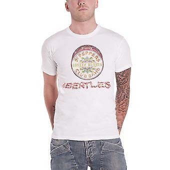 قميص تي البيتلز الزهور الشعار فلفل الرقيب وطبل رجالي رسمية جديدة بيضاء