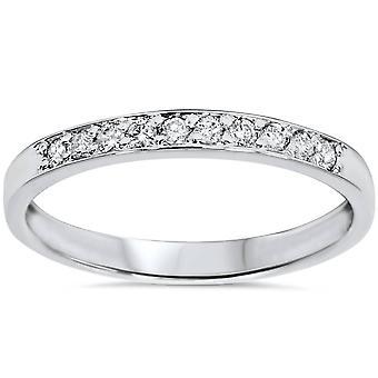 1 / 4ct Diamant stapelbar Hochzeit Ring 14K Weissgold