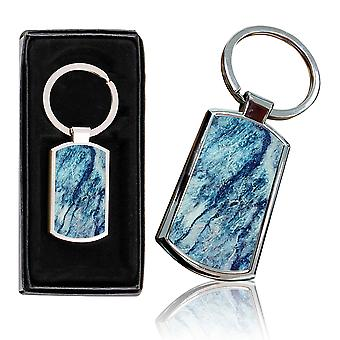 i-Tronixs - Premium Marble Design Chrome Metal Keyring with Free Gift Box (1-Pack) - 0012