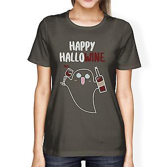 Glad Hallowine Ghost skjorta för kvinnor Halloweenkostym T-Shirts
