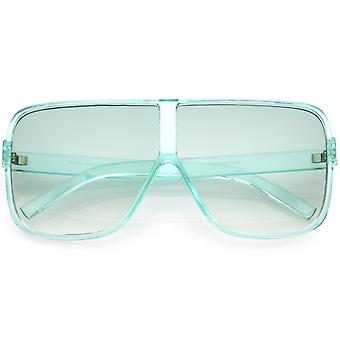 Oversize Translucent Square Sunglasses Flat Top Color Tinted Lens 69mm