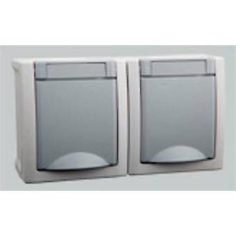 VIKO Wet room switch product range Twin socket Pacific Grey 90591088-DE