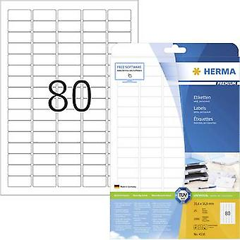 Herma 4336 Labels 35.6 x 16.9 mm Paper White 2000 pc(s) Permanent All-purpose labels, Address labels Inkjet, Laser, Copier 25 Sheet A4