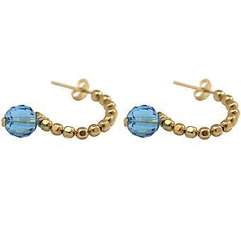 -Ladies placcato oro 3cm - orecchini - ciclo - blu