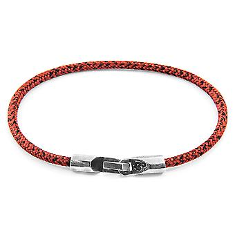 Anchor & Crew Red Noir Talbot Silver and Rope Bracelet
