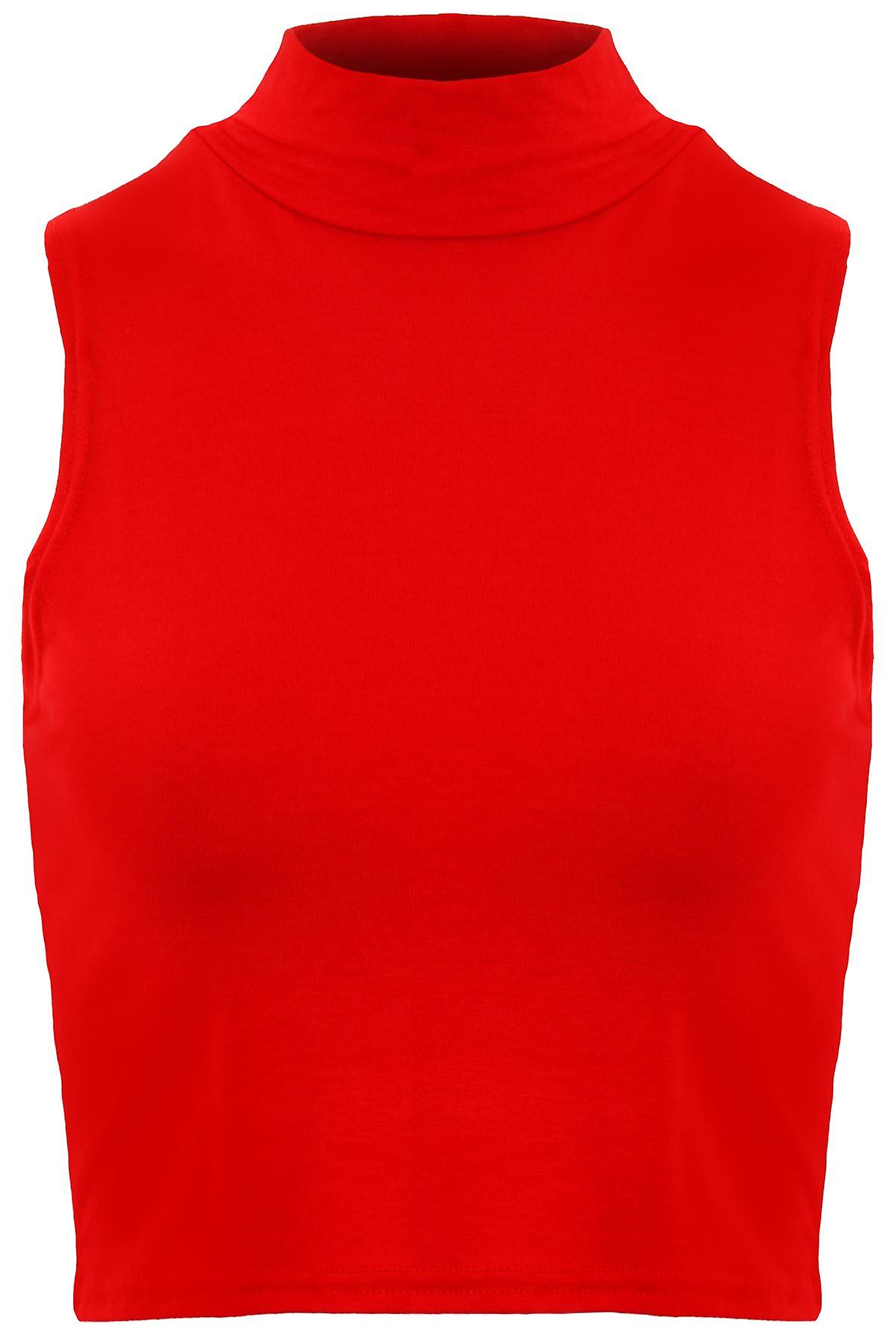 Ladies Sleeveless High Polo Turtle Neck Plain Stretch Vest Crop Top
