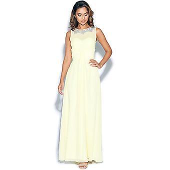 منمق الليمون بلا اكمام فستان ماكسي