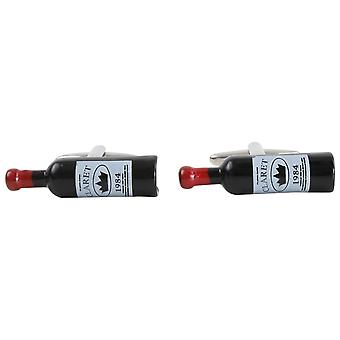 Zennor Wine Bottle Cufflinks - Black/Red