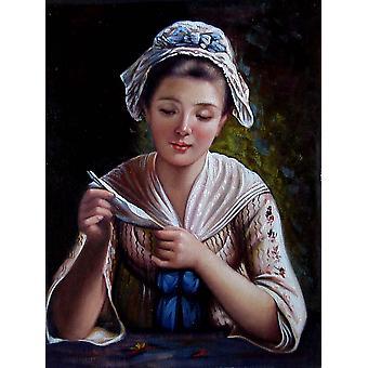Une belle fille, peinture à l'huile sur toile, 30x40 cm