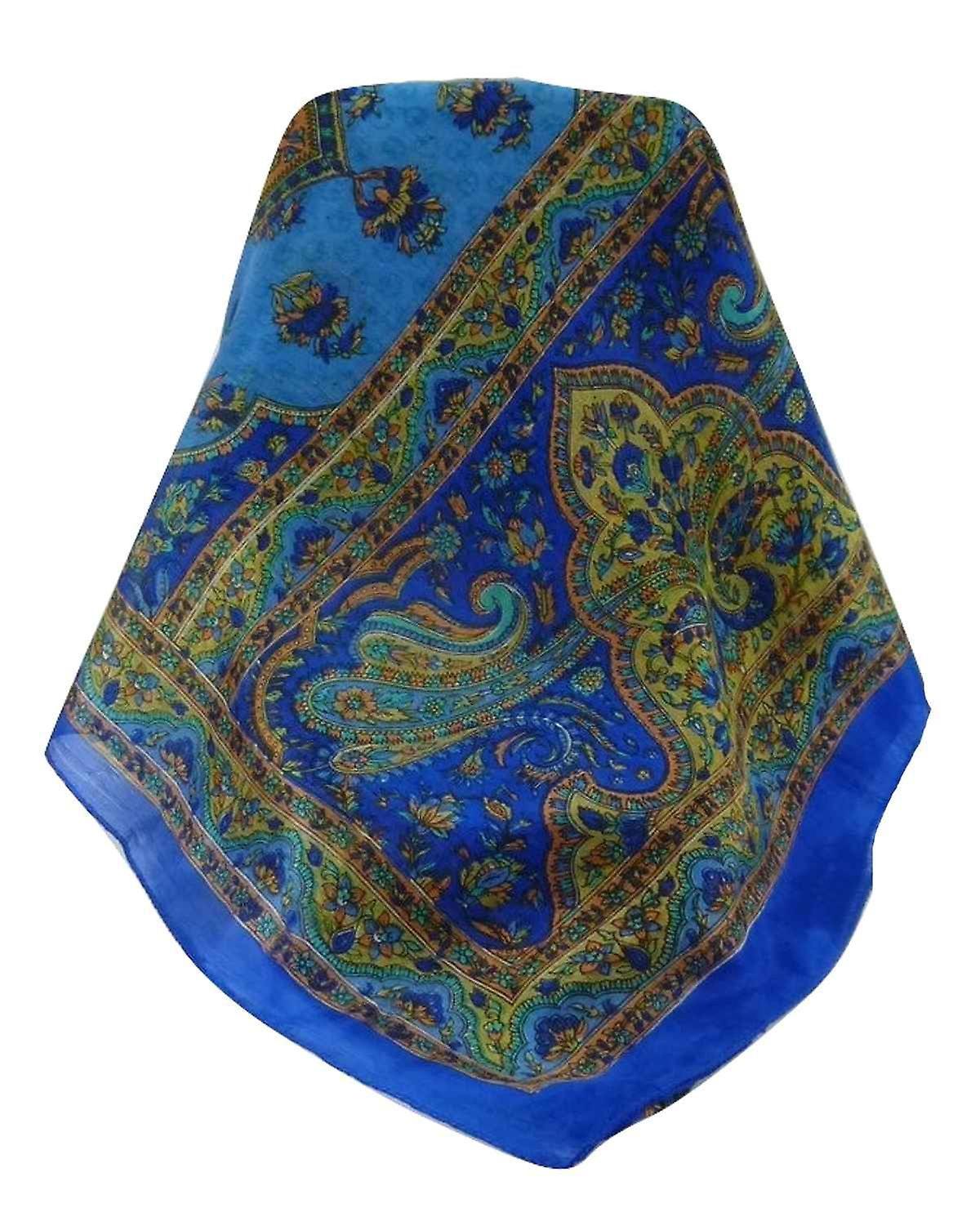 Mulberry Silk Traditional Long Scarf Cauver Blue by Pashmina & Silk