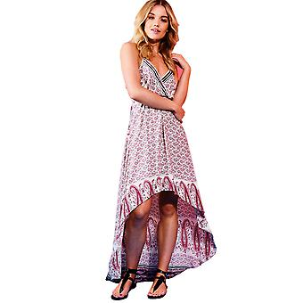 Danity Printed Dip Hem Maxi Dress With Halter Neck In Pink