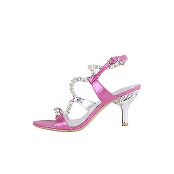 LMS Pink Metallic Kitten Heels With White Pearls And Silver Heel