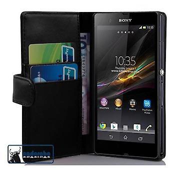 Cadorabo Case pour Sony Xperia Z (1er Gen.) Cas Cover - Boîtier de téléphone en cuir en faux lisse avec fonction de support et compartiment de carte - Case Cover Case Case Case Case Book Folding Style